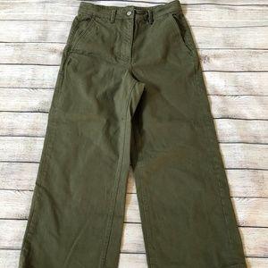 NWOT Everlane  Green The Wide Leg Crop Pant Sz 10